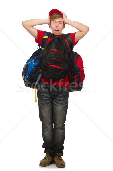 Young traveller with backpack isolated on white Stock photo © Elnur