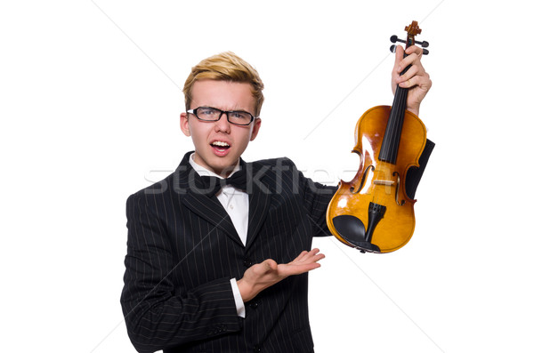 Stock fotó: Fiatal · zenész · hegedű · izolált · fehér · zene