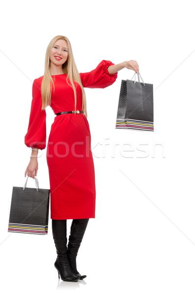 Gyönyörű nő piros hosszú ruha izolált fehér Stock fotó © Elnur
