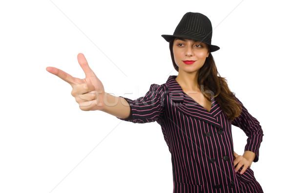 Donna gangster isolato bianco ragazza mano Foto d'archivio © Elnur
