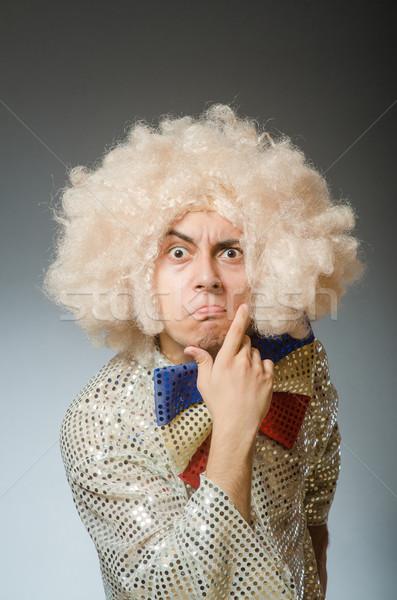 Funny człowiek afro peruka strony twarz Zdjęcia stock © Elnur