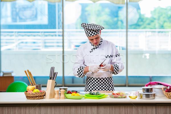 Férfi szakács ételt készít konyha étel kéz Stock fotó © Elnur