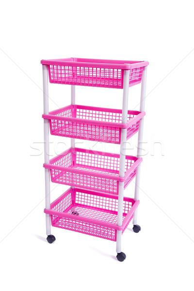 Stock fotó: Rózsaszín · tároló · fogas · polc · kerekek · izolált