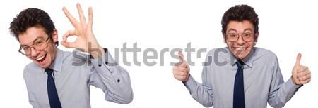 üzletember kisajtolás virtuális gombok fehér munka Stock fotó © Elnur