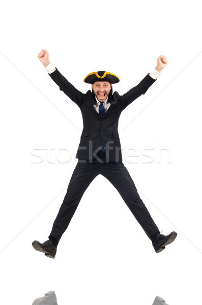 Jumping businessman wearing tricorn isolated on white Stock photo © Elnur