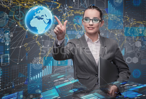 Young businesswoman in data management concept Stock photo © Elnur