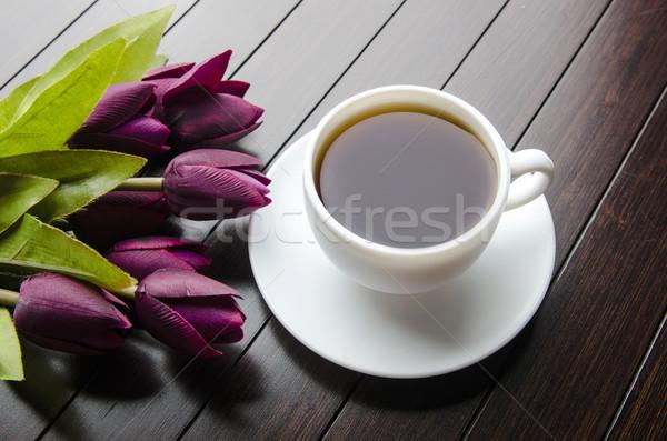 Fincan çay catering çiçekler yaprak cam Stok fotoğraf © Elnur