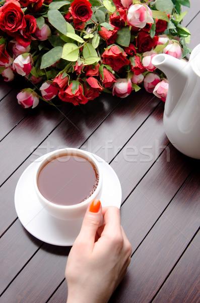 カップ 茶 ケータリング 花 手 ガラス ストックフォト © Elnur