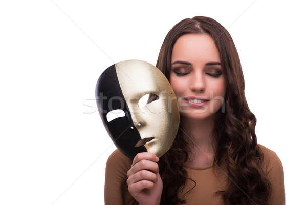 Young woman with mask isolated on white Stock photo © Elnur