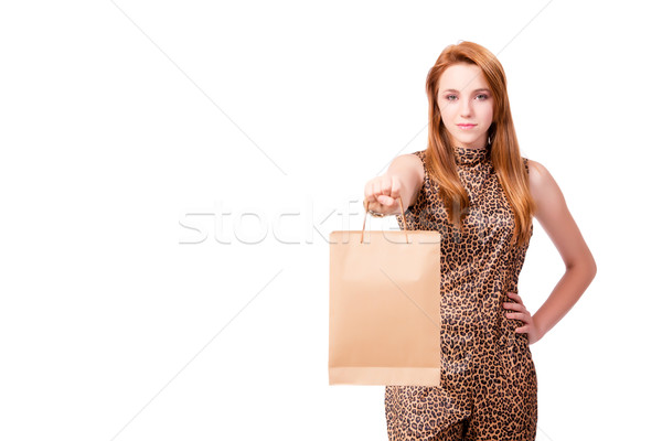 Woman with many shopping bags isolated on white Stock photo © Elnur