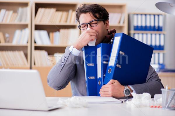 Doente empresário sofrimento doença escritório homem Foto stock © Elnur