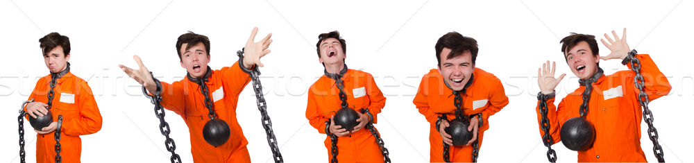 The young inmate with chains isolated on the white Stock photo © Elnur