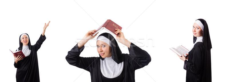 Mooie non bijbel geïsoleerd witte meisje Stockfoto © Elnur