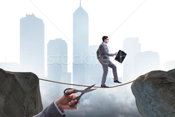 стороны веревку бизнесмен туго натянутый канат фон Сток-фото © Elnur