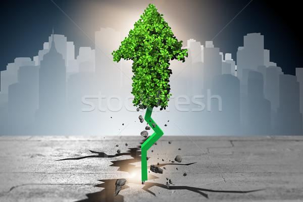 Foto stock: Verde · seta · indicação · 3D · negócio