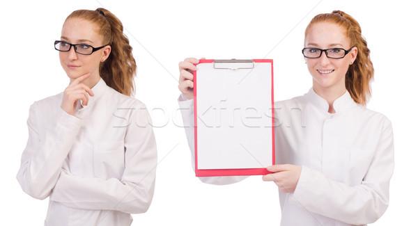 молодые медик изолированный белый бумаги медицина Сток-фото © Elnur