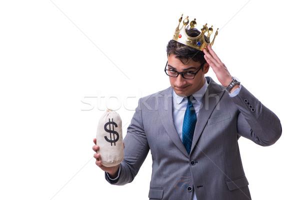 Király üzletember tart pénz táska izolált Stock fotó © Elnur