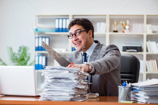 Zangado agressivo empresário escritório trabalhar secretária Foto stock © Elnur