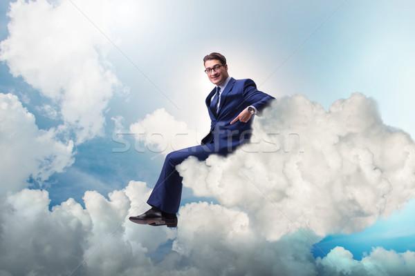Empresario sesión nube trabajo fondo red Foto stock © Elnur