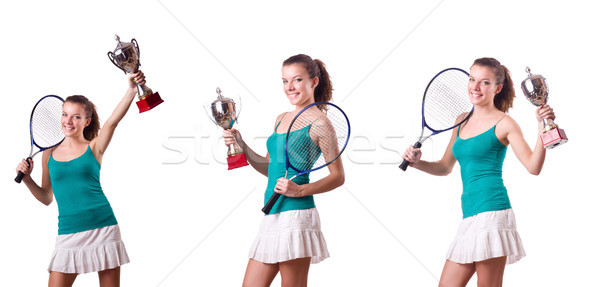 Stock photo: Pretty tennis player with cup isolated on white