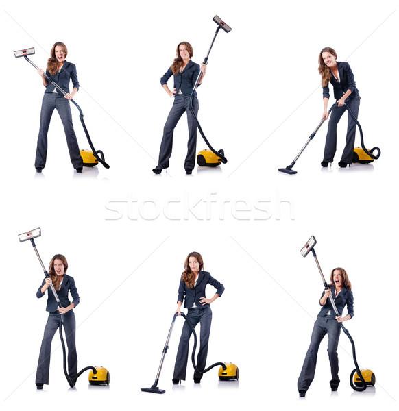 Nő takarítás porszívó ház munka üzletember Stock fotó © Elnur