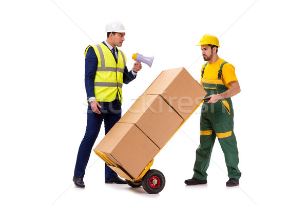 The two workers isolated on the white background Stock photo © Elnur