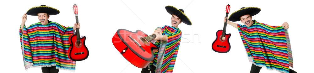 Funny młodych mexican gitara odizolowany biały Zdjęcia stock © Elnur