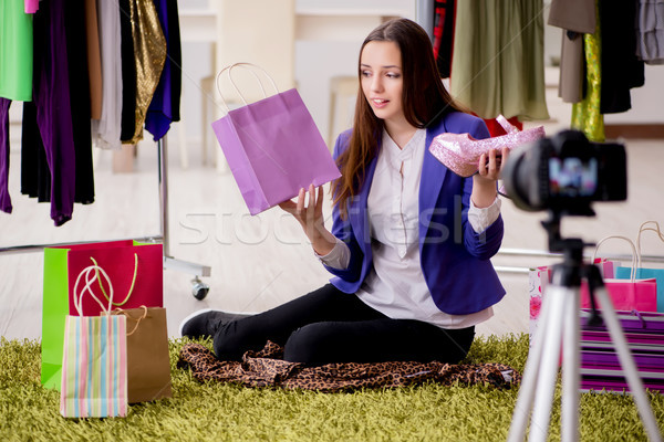 Beauty fashion blogger recording video for blog Stock photo © Elnur