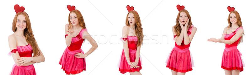 Bastante jóvenes modelo mini rosa vestido Foto stock © Elnur