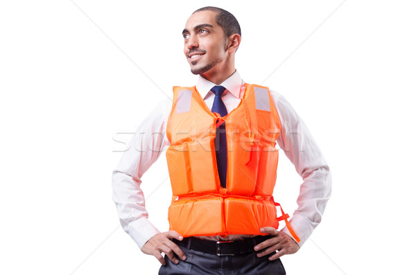 Man in life jacket isolated on white Stock photo © Elnur