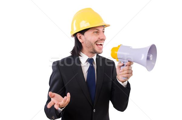 Hombre casco altavoz hombre blanco blanco mujer Foto stock © Elnur