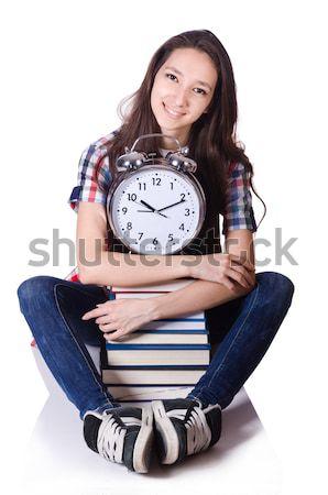Jonge vrouwelijke student vermist deadlines witte Stockfoto © Elnur