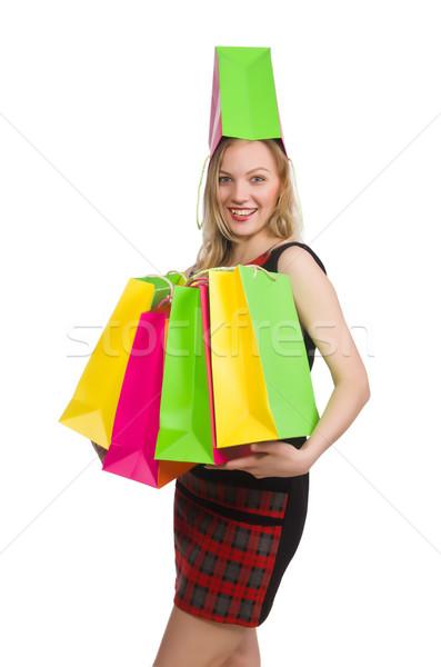женщину торговых белый счастливым моде сумку Сток-фото © Elnur