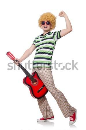 男 アフロ かつら ギター 白人 白 ストックフォト © Elnur