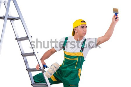 Female construction worker with toolkit and ladder Stock photo © Elnur