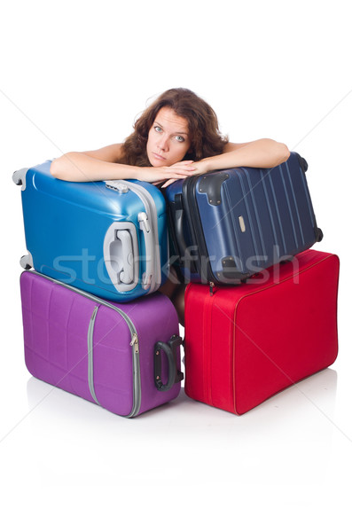 Woman with luggage isolated on the white Stock photo © Elnur