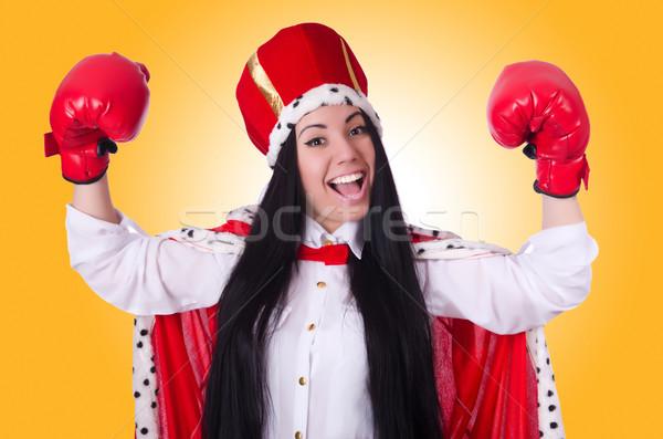 Stockfoto: Vrouw · koningin · bokshandschoenen · business · werk · zakenman