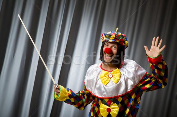 Engraçado palhaço violino cortina música sorrir Foto stock © Elnur