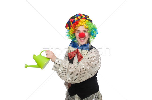 Female clown with watering can isolated on white Stock photo © Elnur