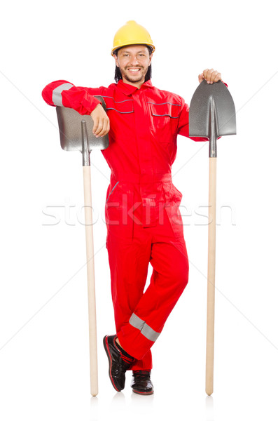 Homem vermelho pá trabalhar jardim indústria Foto stock © Elnur