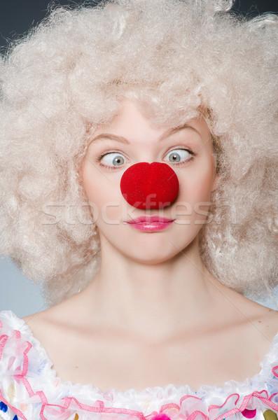 клоуна белый парик серый улыбка рождения Сток-фото © Elnur