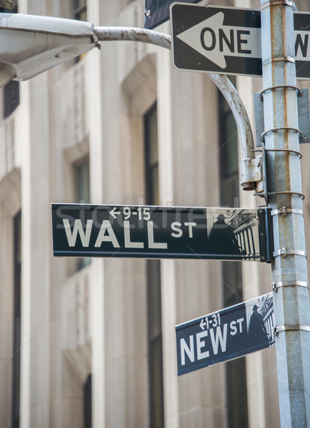 Sign on the Wall Street Stock photo © Elnur