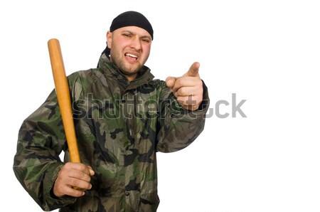 Joven soldado uniforme cuchillo aislado Foto stock © Elnur
