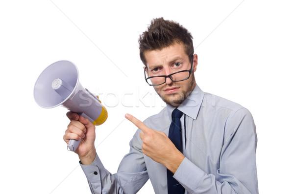 Fiatal üzletember hangfal fehér férfi építkezés Stock fotó © Elnur