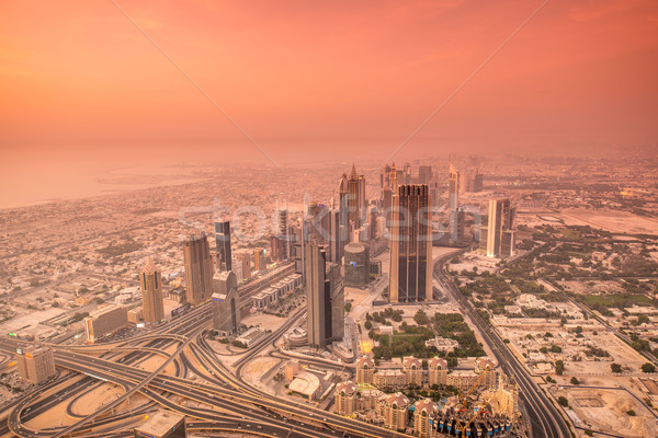 Stock photo: Panorama of night Dubai during sunset