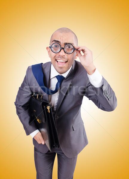 Funny nerd Geschäftsmann weiß Business Lächeln Stock foto © Elnur