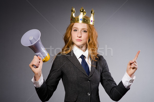 Queen businessman with loudspeaker in funny concept Stock photo © Elnur