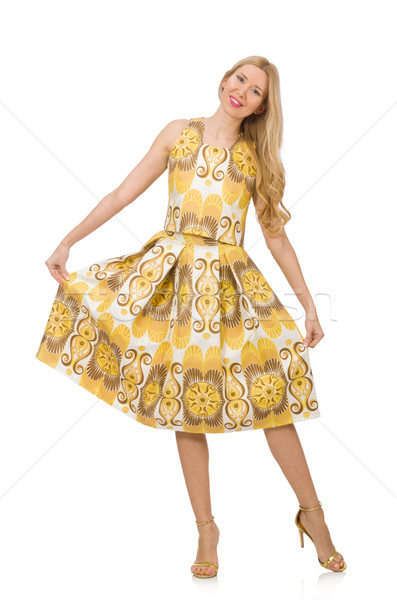 Pretty girl in yellow floral dress isolated on white Stock photo © Elnur