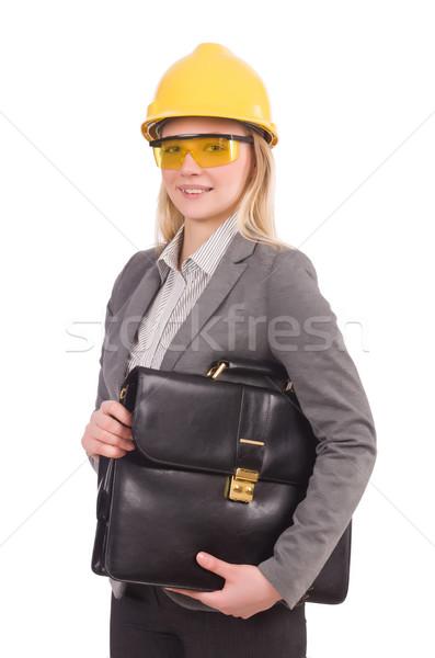 女性 エンジニア ヘルメット ブリーフケース 孤立した 白 ストックフォト © Elnur