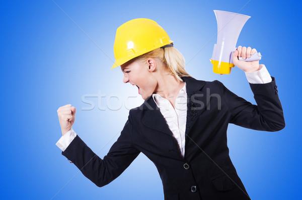 Homme travailleur de la construction haut-parleur affaires femme construction Photo stock © Elnur
